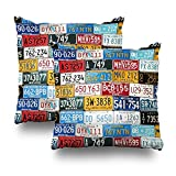 Soopat Decorative Pillows Covers 18''X18'' Set Of 2 Two Sides Printed 1107 License Plates Throw Pillow Cases Decorative Home Decor Indoor/Outdoor Nice Gift Kitchen Garden Sofa Bed Car Living Room