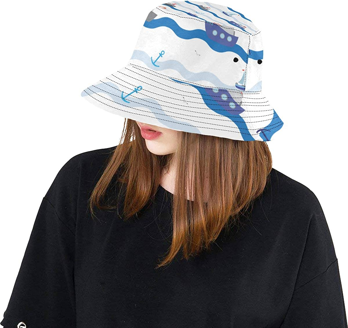 Boat Ship River Ocean Transport Summer Unisex Fishing Sun Top Bucket Hats for Kid Teens Women and Men with Packable Fisherman Cap for Outdoor Baseball Sport Picnic