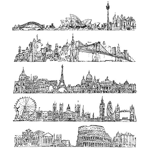 Stampers Anonymous Tim Holtz Cling Rubber Cityscapes Stamp Set, 7