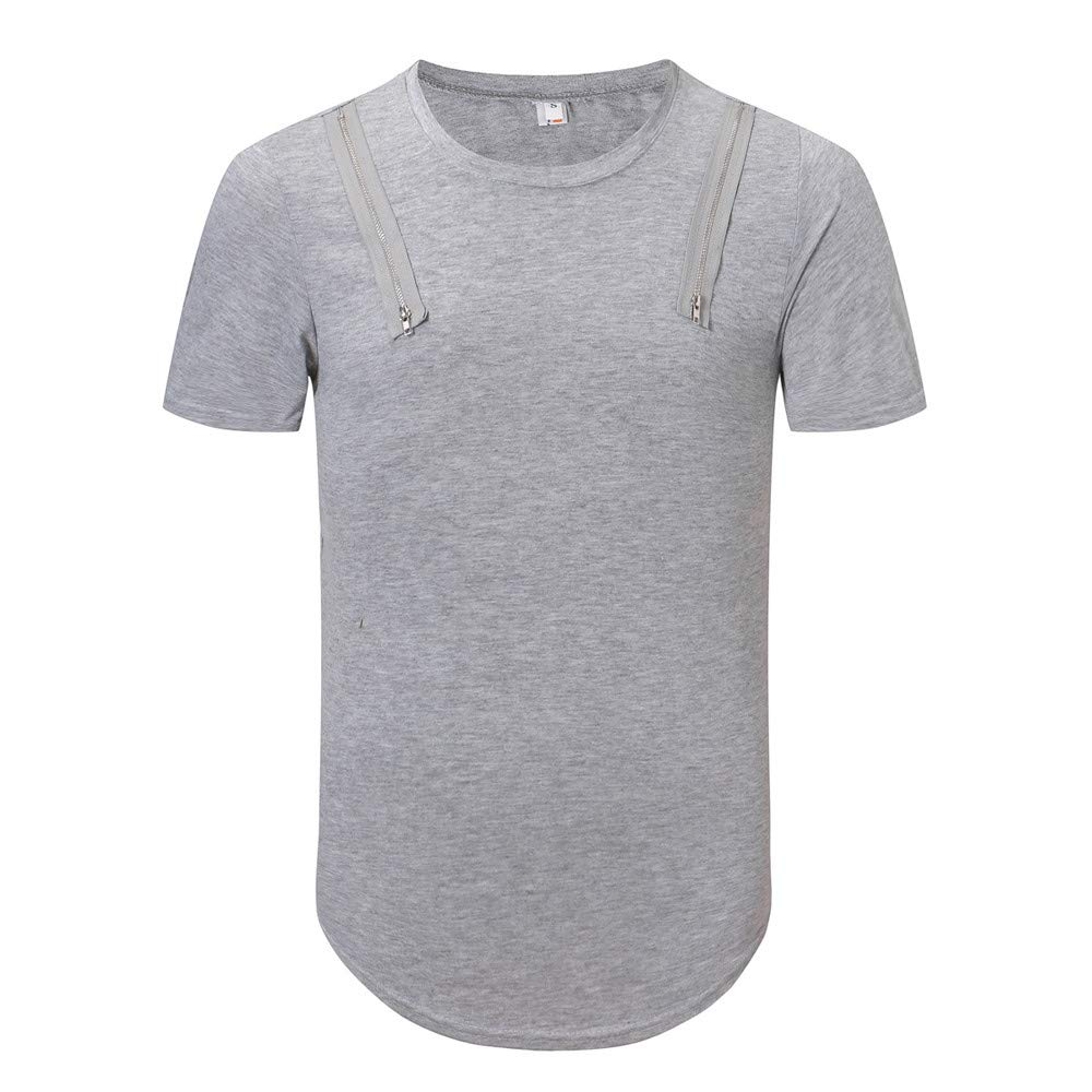 Palarn Mens Fashion Sports Shirts Mens Trend Personal Band Short Sleeve T-Shirt Pure Color Blouse Top
