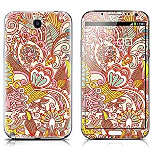 SX-068 Cartoon Flower Pattern Front and Back Protector Stickers for Samsung Note 2 N7100