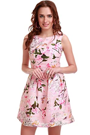 f946be4ea8 SASSAFRAS Women s Pink Floral Silk Skater Dress  Amazon.in  Clothing    Accessories