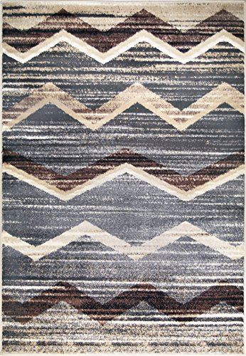 ADGO Atlantic Collection Modern Abstract Chevron Zig Zag Wave Bedroom Living Dining Room Floor Rug, Brown Grey, 8' x 10'1
