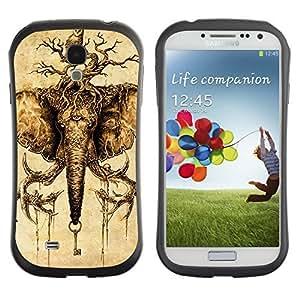 Hybrid Anti-Shock Bumper Case for Samsung Galaxy S4 / Elephant And Owl