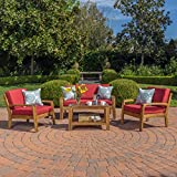Wood Patio Furniture Parma 4 Piece Outdoor Wood Patio Furniture Chat Set w/ Water Resistant Cushions (Four Piece Chat Set, Red)