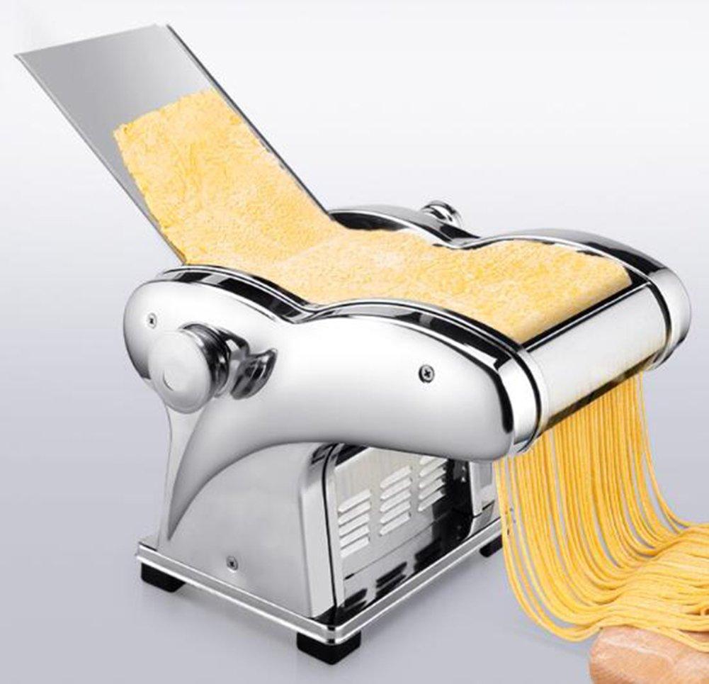 Pasta Maker,110V Electric Noodle Press Machine Spaghetti Pasta Maker Commercial Stainless Steel Dough Cutter Dumplings Roller Noodles Hanger,6 Speed Adjustable Thickness Setting (3 Noodle Knife)