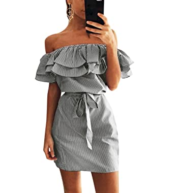 70485d1def07 Striped Summer Dresses Womens Off The Shoulder Day Dress Ladies Short Party  Dresses Plus Size Holiday
