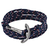 Amazon Price History for:Men Adjustable Nautical Anchor Wrap Cuff Bracelets Twining Weave Nylon Rope Punk DIY Sailing