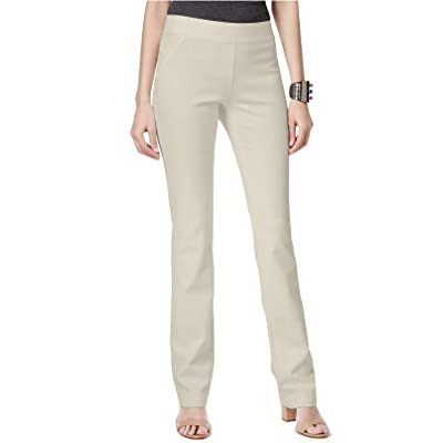 INC International Concepts Women's Curvy Pull-On Straight-Leg Pants Beige 18 at Women's Clothing store