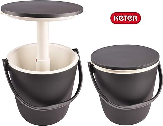 KETER - Cubo de refrigeración de grafito, mesa auxiliar portátil, nevera portátil: Amazon.es: Jardín