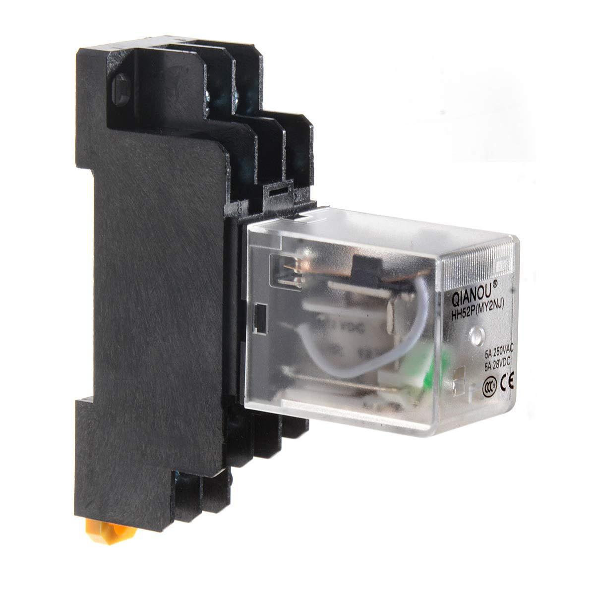 DC 24V YXQ DC24V Coil Electromagnetic Power Relay 8Pin DPDT Green Indicator Light HH52P w PYF08A Socket Base