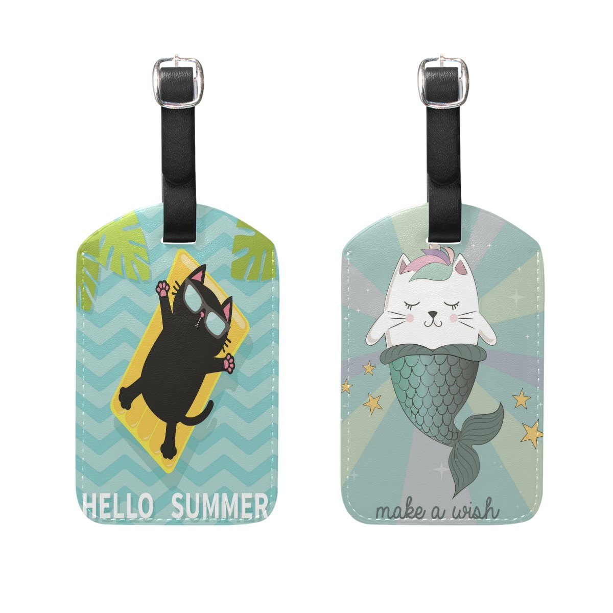 ALAZA Summer Cat PU Leather Luggage Tags Travel Bag Labels Suitcase Baggage 2PCS by ALAZA