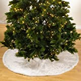 Noël Blanc Faux Fur Design White Holiday Christmas Tree Skirt, One Piece