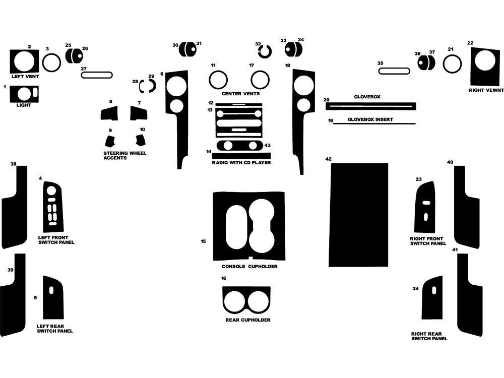 Rdash Dash Kit Decal Trim for Lincoln Mark LT 2006-2007 - Carbon Fiber 4D (Black) Rvinyl