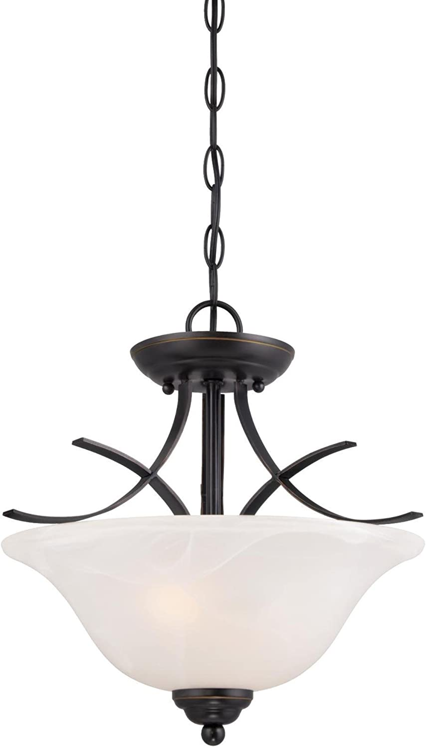 Westinghouse Lighting 6340300 Pacific Falls Two-Light Indoor Convertible Pendant Semi-Flush Ceiling Fixture, Amber Bronze Finish with White Alabaster Glass