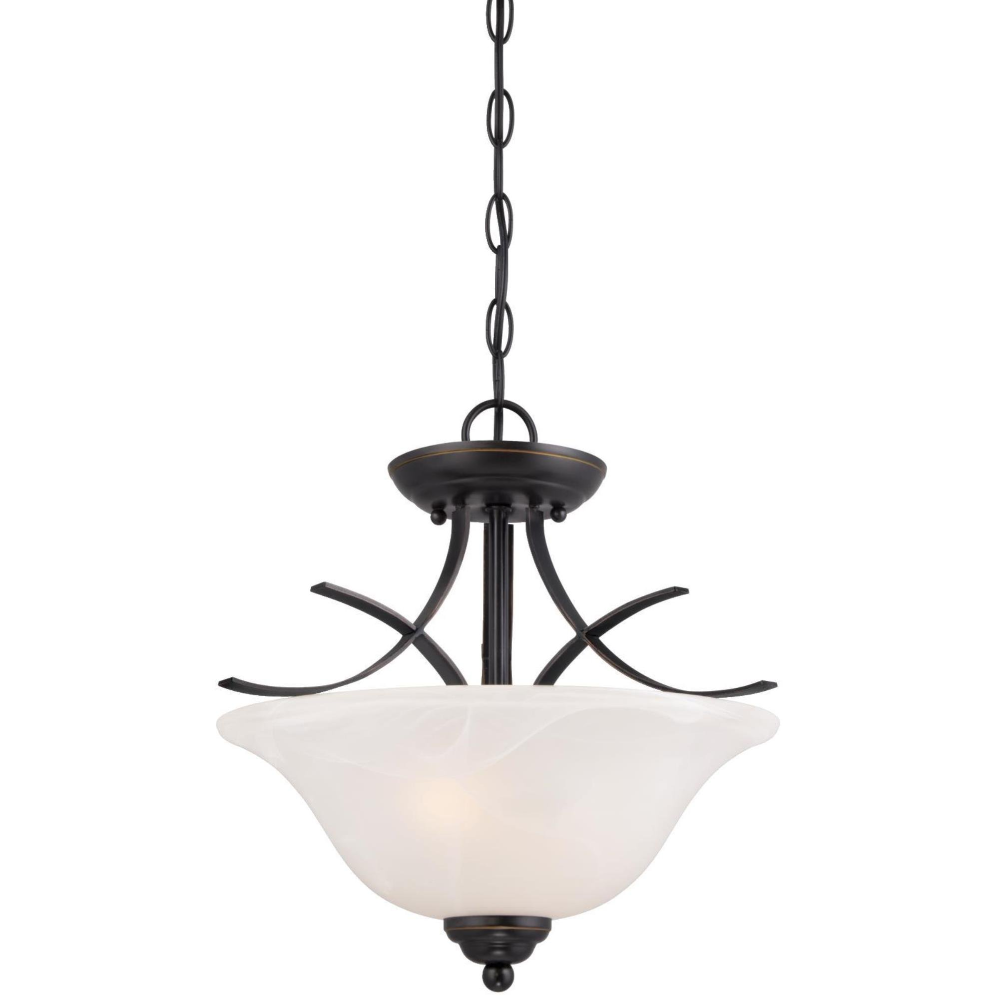 Westinghouse 6340300 Pacific Falls Two-Light Indoor Convertible Pendant/Semi-Flush Ceiling Fixture, Amber Bronze Finish with White Alabaster Glass