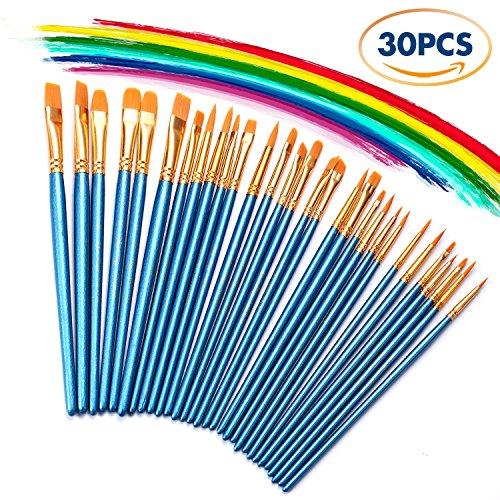 3 Pack Paint Brush Set, 30 pcs Nylon Hair Brushes for Acrylic Oil Watercolor Painting Artist Professional Painting Kits