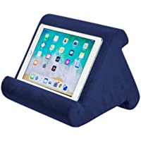 Tablet Pillow Stand - AUMA Multi-Angle Soft Pillow Holder for iPads, Tablets, eReaders, Smartphones, Books, Magazines on Bed, Knee, Desk, Sofa, Floor- Dark Blue