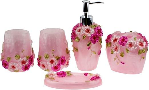 Vintage Pink Bathroom Accessories 5Piece Bathroom Accessories Set Bath Gift Set Generic Tumbler /& Soap Dish Bathroom Set Features Toothbrush Holder Soap Dispenser