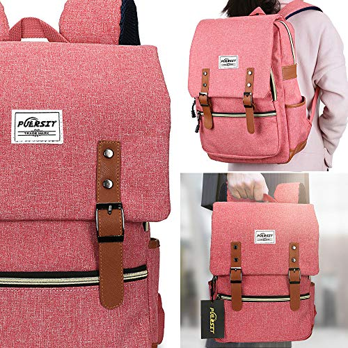 4098e05e6 Vintage Laptop Backpack, Canvas College Backpack School Bag Fit for 15 Inch  Laptop for Daily