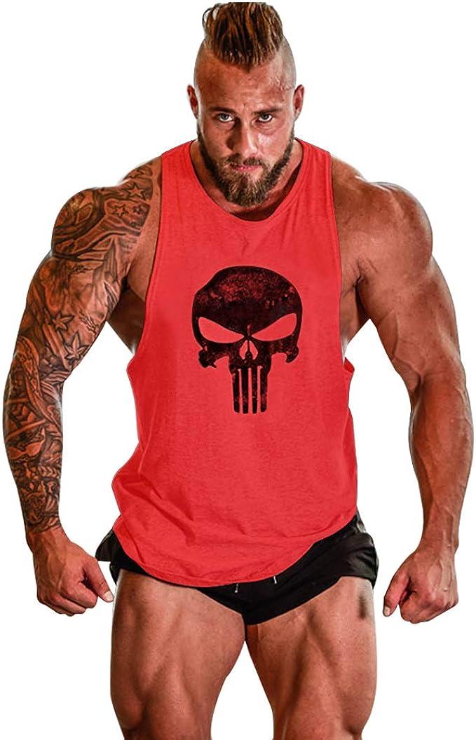 GZXISI Mens Skull Print Stringer Bodybuilding Gym Tank Tops Sleeveless Workout Shirt Fitness Vest