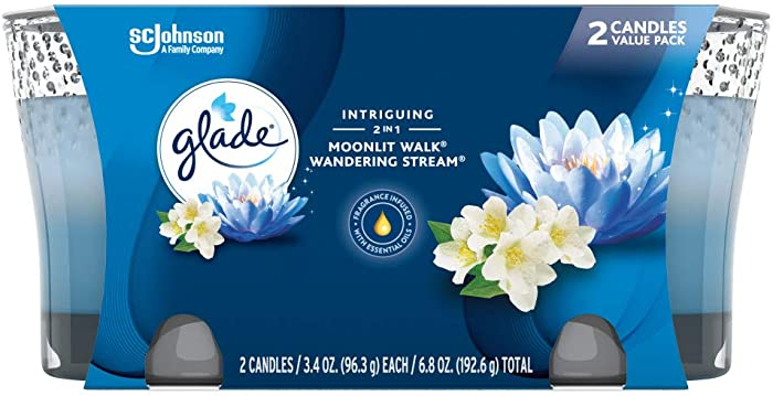 Glade 2in1 Jar Candle Air Freshener, Moonlit Walk & Wandering Stream, 2 candles, 6.8 oz