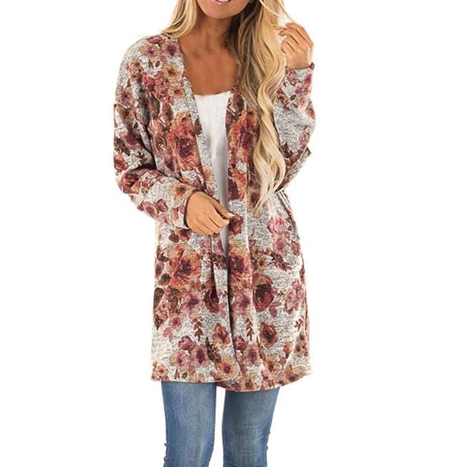 Linlink Mujeres Estampado impresión Floral Cubierta Informal Camisade Manga Larga Blusa Tops Capa Abrigos Chaqueta Superior de Moda: Amazon.es: Ropa y ...