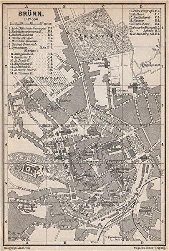 BRNO BRUNN BRNN antique town city plan mesta Czech Republic mapa