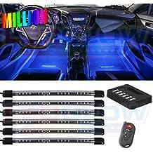 LEDGlow 6pc Million Color LED Underdash Car Interior Light Kit - Universal Fitment - Flexible Light Tubes - Wireless Remote