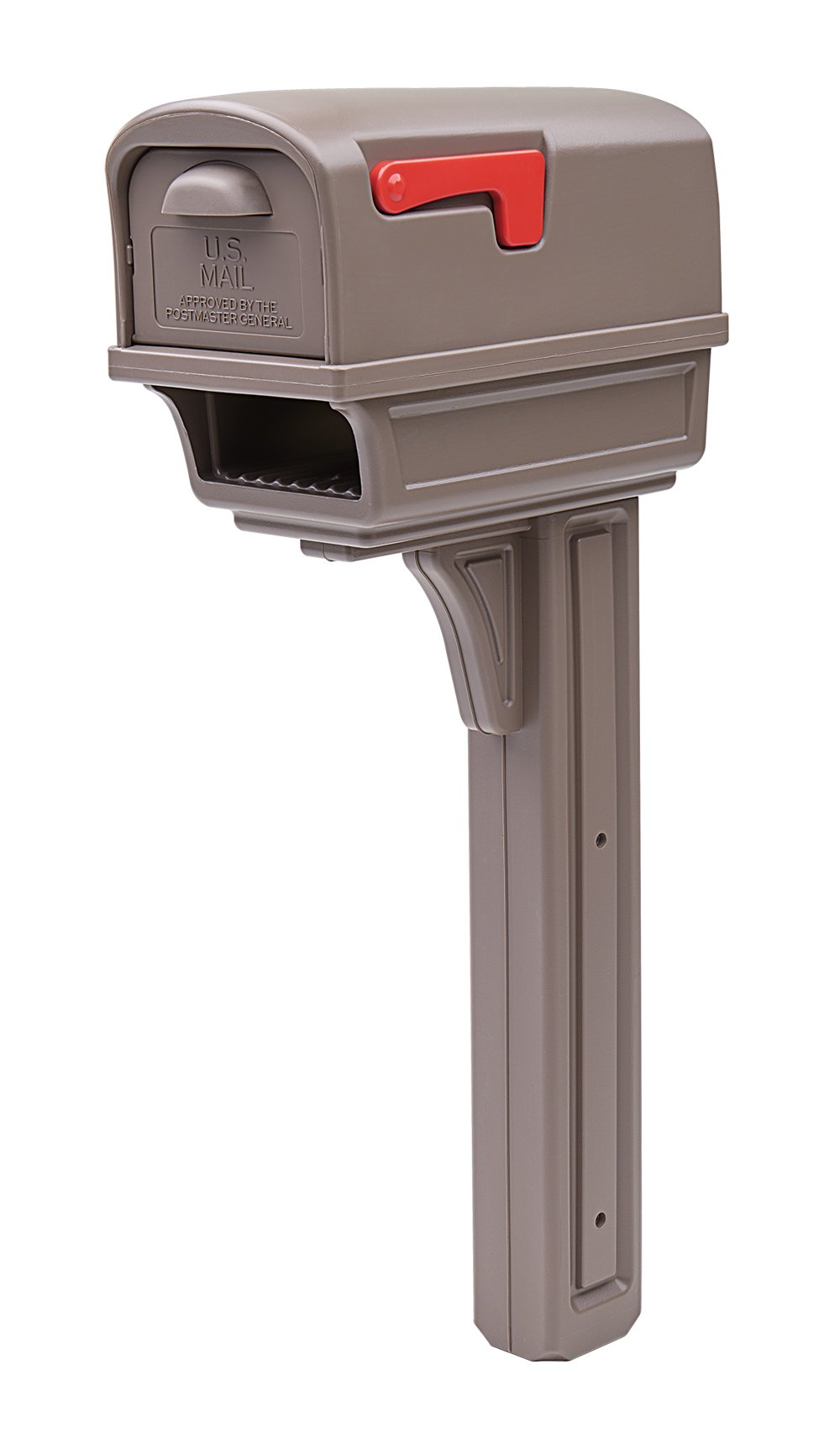Gibraltar Mailboxes Gentry Large Capacity Double-Walled Plastic Mocha, All-In-One Mailbox & Post Combo Kit, GGC1M0000