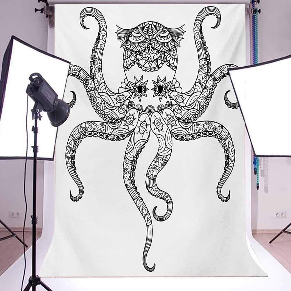 Octopus 8x10 FT Photo Backdrops,Octopus Doodle Cultural Pattern Style Illustration Print Background for Baby Shower Bridal Wedding Studio Photography Pictures Balck White