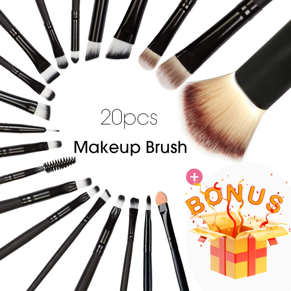 BEAKEY 20+1 Makeup Brush Set Professional Eyeshadow Brush set Foundation Eyeliner Brush Powder Liquid Cream Cosmetics Blending Brush Tool with 1 Secret Gift