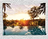 """Ambesonne Hawaiian Tapestry, Home with Swimming Pool at Sunset Tropics Palms Private Villa Resort Scenic View, Wide Wall Hanging for Bedroom Living Room Dorm, 80"""" X 60"""", Orange Teal"""