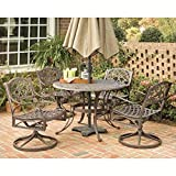 Cheap Home Styles 5555-325 Biscayne 5-Piece Outdoor Dining Set, Rust Bronze Finish, 48-Inch