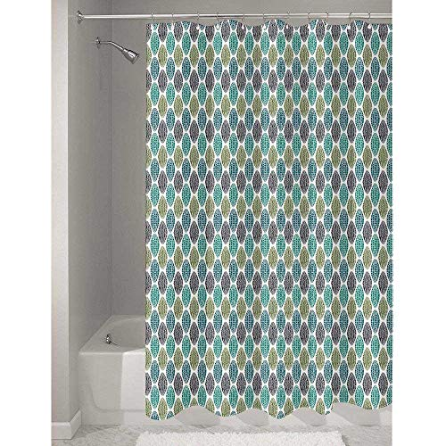 (Geometric Stylish polyester Shower curtain Geometric Oval Shapes Various Styles Lines Swirls Ethnic Tribal Available in a variety of styles and colors W72 x L79 Inch Sea and Olive Green Black)