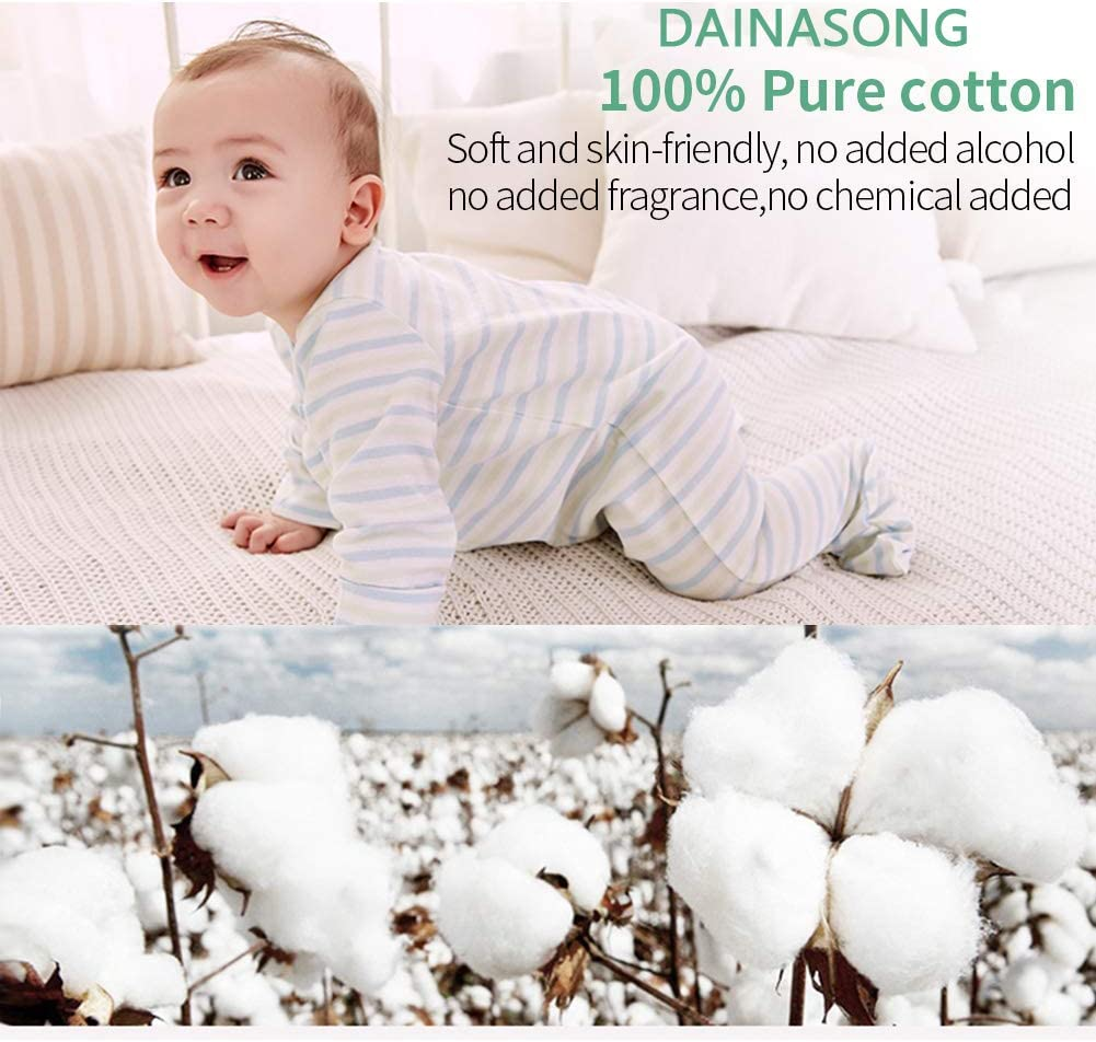 300 wipes total 3 Packs Baby Skin Care 100/% Cotton Tissue Pads Safe Soft Wipe Comfortable Unscented Wet /&Dry Dual Use