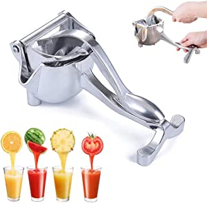 Stainless Steel Manual Juicer - Alloy Hand Heavy Duty Fruit Squeezer, Manual Lemon Orange Juicer Extractor (Silver (Non-detachable))