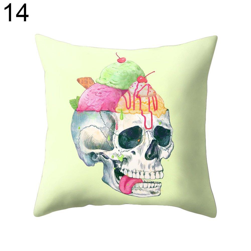Skgardeniamy Cuscino decorativo a forma di teschio, con cerniera, per camera da letto, divano, decorazione per Halloween, soggiorno, feste, 1#, 45 * 45