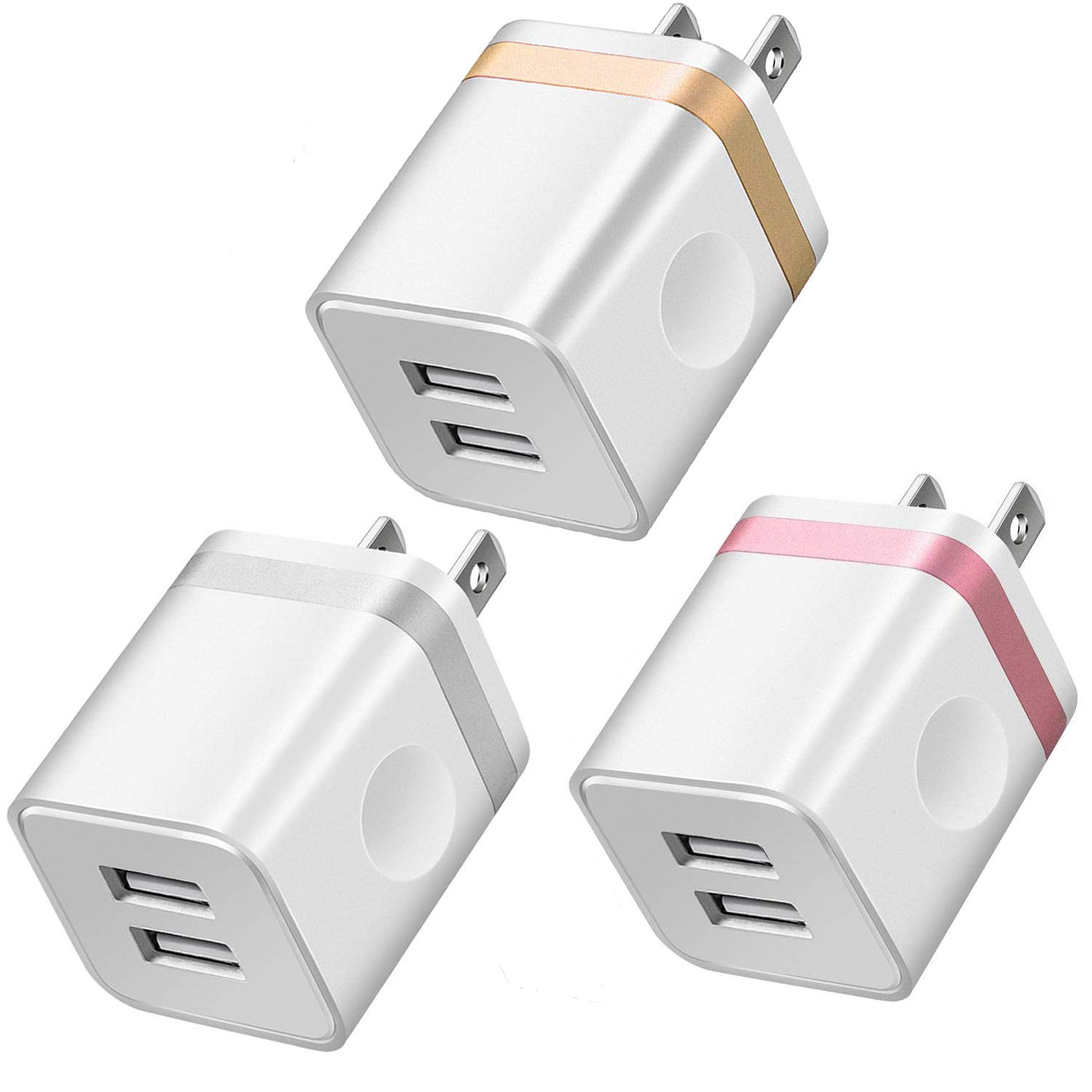 LEEKOTECH USB Wall Charger, 3-Pack 2.1A Dual Port USB Plug Power Adapter Wall Charger Charging Block Cube Compatible with iPhone XR Xs Max X 8 7 6 Plus 5 4, Samsung, LG, ZTE, Moto, Android Phone More