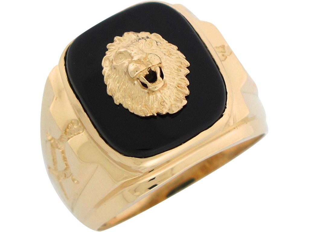 10k Yellow Gold Onyx Regal Lion Head Mens Nugget Style Ring by Jewelry Liquidation (Image #2)