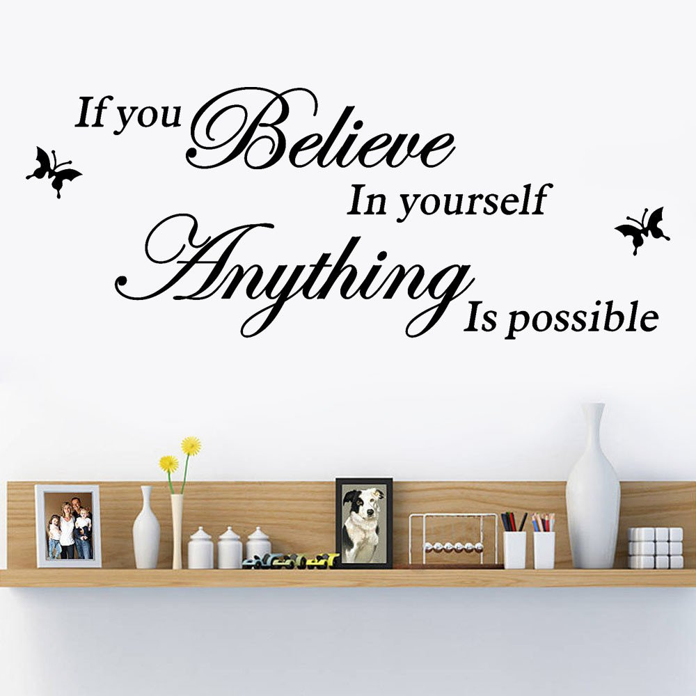 MONsin Baby Wall Sticker,Believe in Yourself Wall Stickers Quote Anything is Possible Self - Adhesive Instant Wall Decal Sticker Words for Living Room Bedroom (Black)