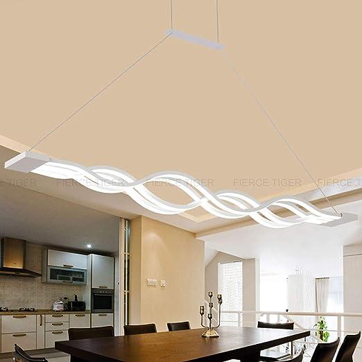 Lámpara colgante Regulable LED Mesa de comedor Lámpara Moderno Diseñador creativo Araña de altura Ajustable Metal Ola Lámpara de techo Lámpara ...