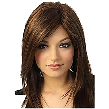 Straight Dark Brown Wigs Medium Length Loose Wigs With Bangs High Resistant Synthetic Wigs 16 Inch