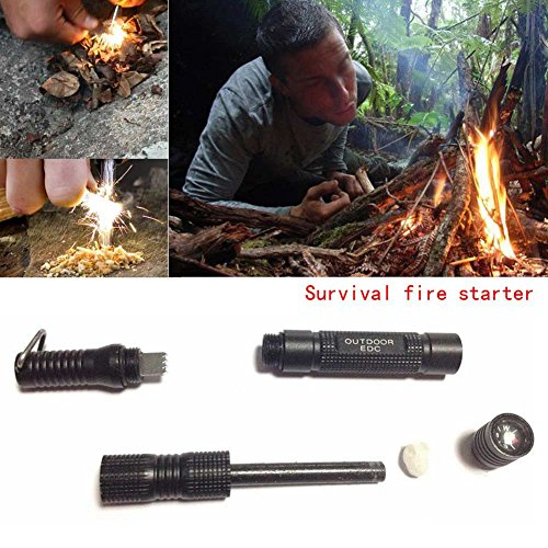 Enjoydeal Fire Starter, Magnesium SPARK Starter Aircraft Aluminum Emergency Survival Kit Camping Tool W Tactical Keychain Black