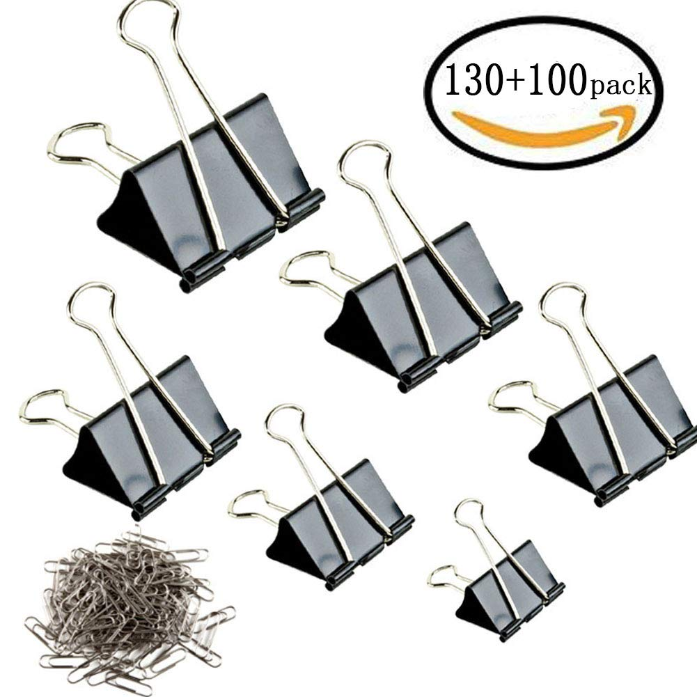 Binder Clips - 130 Pcs Assorted Sizes Paper Clamp & 100 Pcs Bonus Paper Clips (Black)