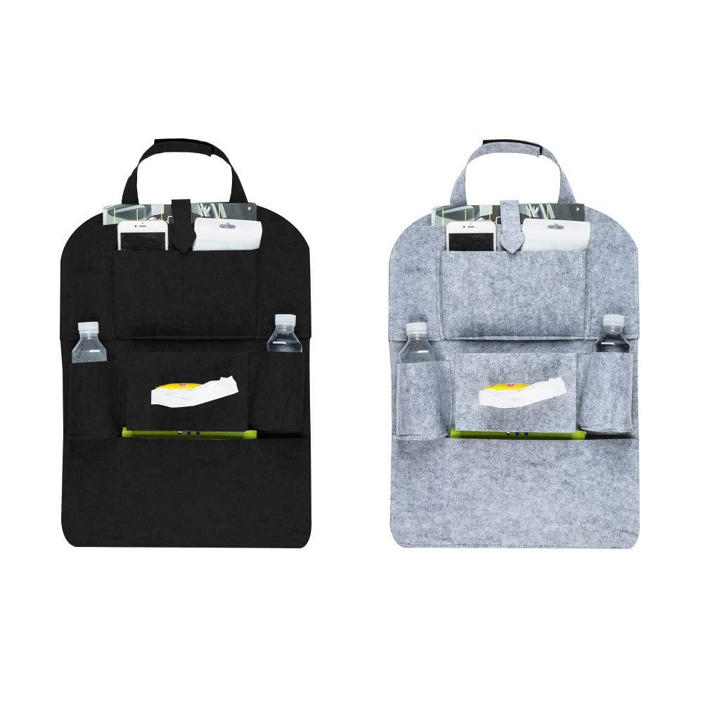 Lefu 2 Stücke Auto Rücksitz Organizer Filz Trittmatten Protektoren mit Multi Taschen für Kinder Spielzeug Flaschen Snacks Dauerhaft