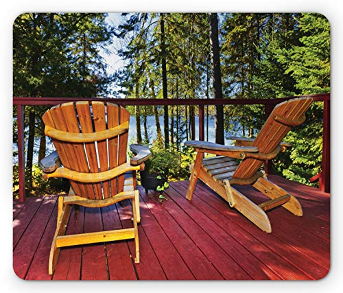 (Ambesonne Forest Mouse Pad, Adirondack Chairs on Porch in Forest Fresh Air, Standard Size Rectangle Non-Slip Rubber Mousepad, Ruby Earth Yellow Lime Green and Pale Azure Blue)