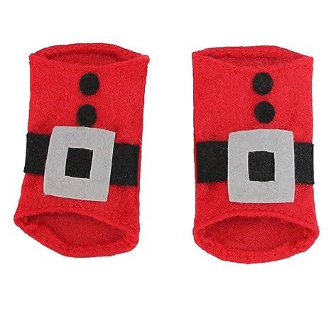 AchidistviQ 4 Piezas de Navidad Santa Ropa Cuchara Cuchillo Cubertería Vajilla Soporte Decoración Navidad Decoración de