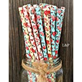 Charmed floral Roses Paper Straws 7.75 Inches 75 Pack Ivory, Light Blue, Pink
