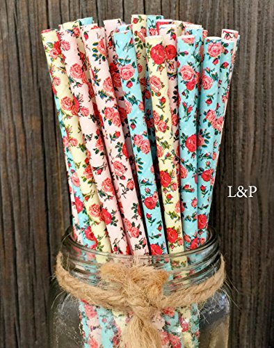 Ivory Rose Floral - Charmed floral Roses Paper Straws 7.75 Inches 75 Pack Ivory, Light Blue, Pink